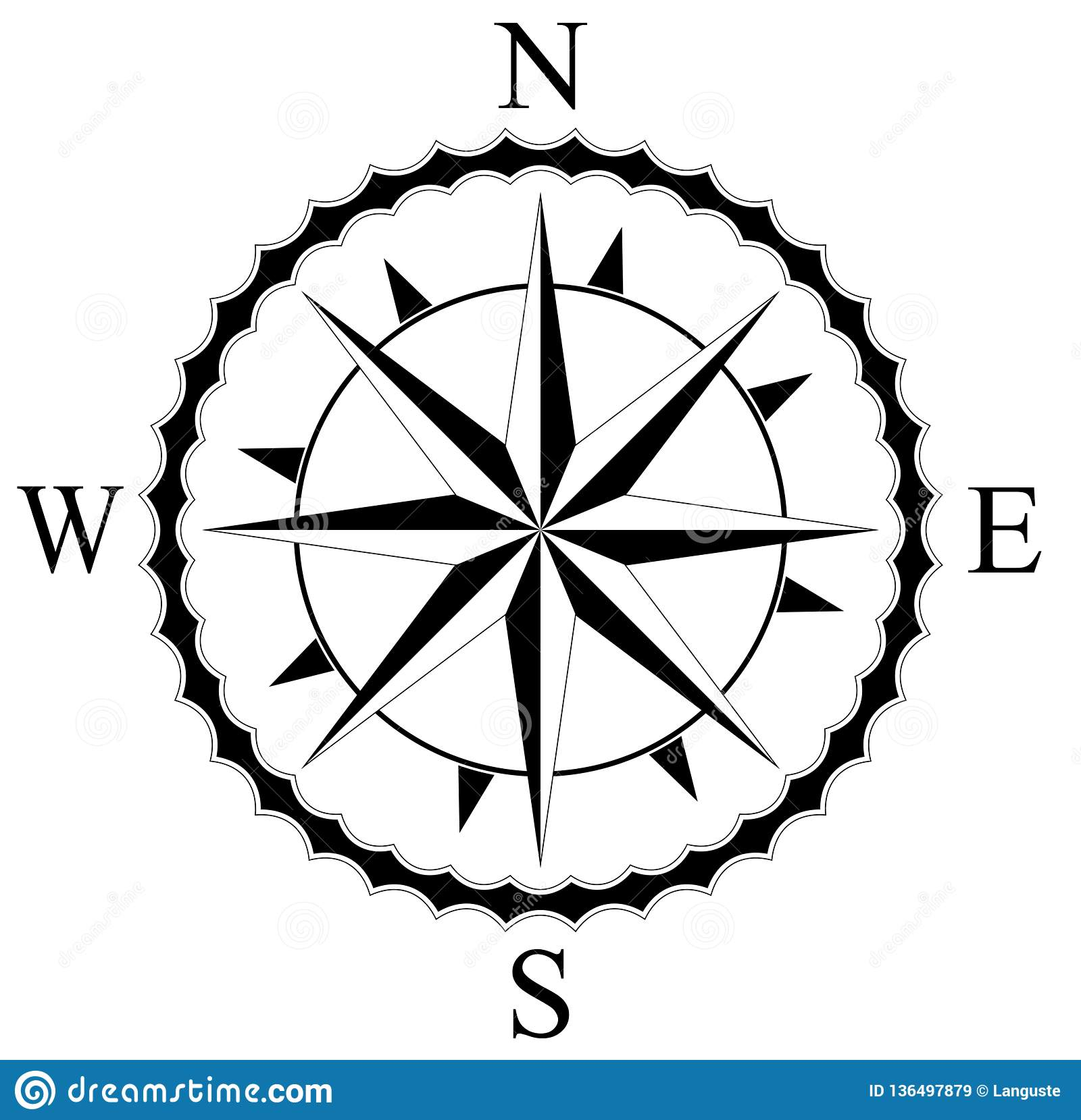 Simple Compass Rose For Nautical Navigation And Also For