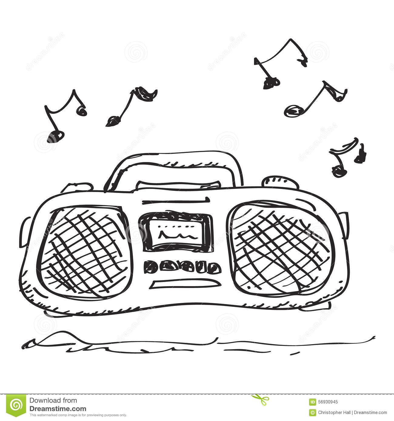 Simple Doodle Of A Stereo Stock Vector