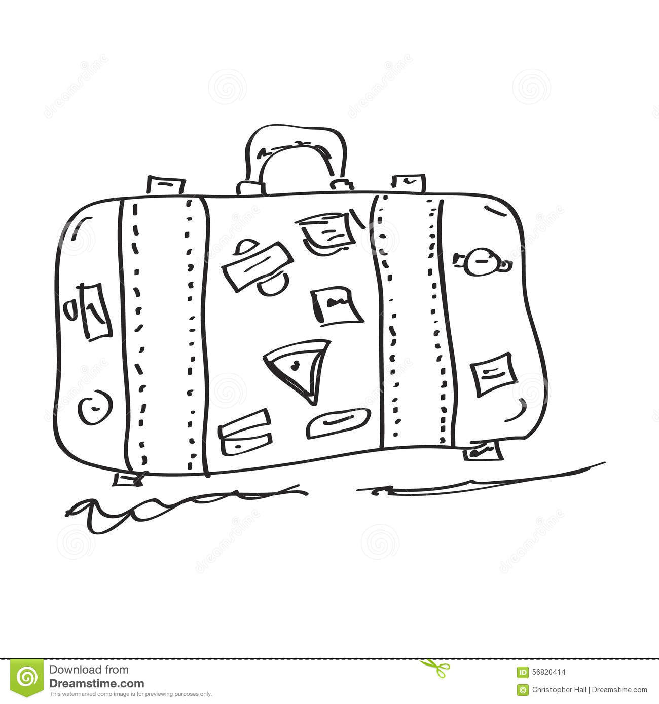 Simple Doodle Of A Suitcase Stock Vector