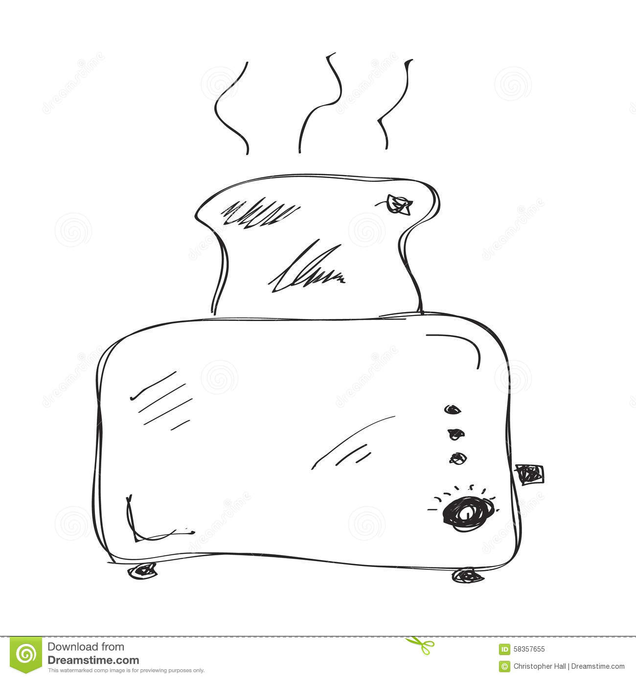 Simple Doodle Of A Toaster Stock Vector Illustration Of