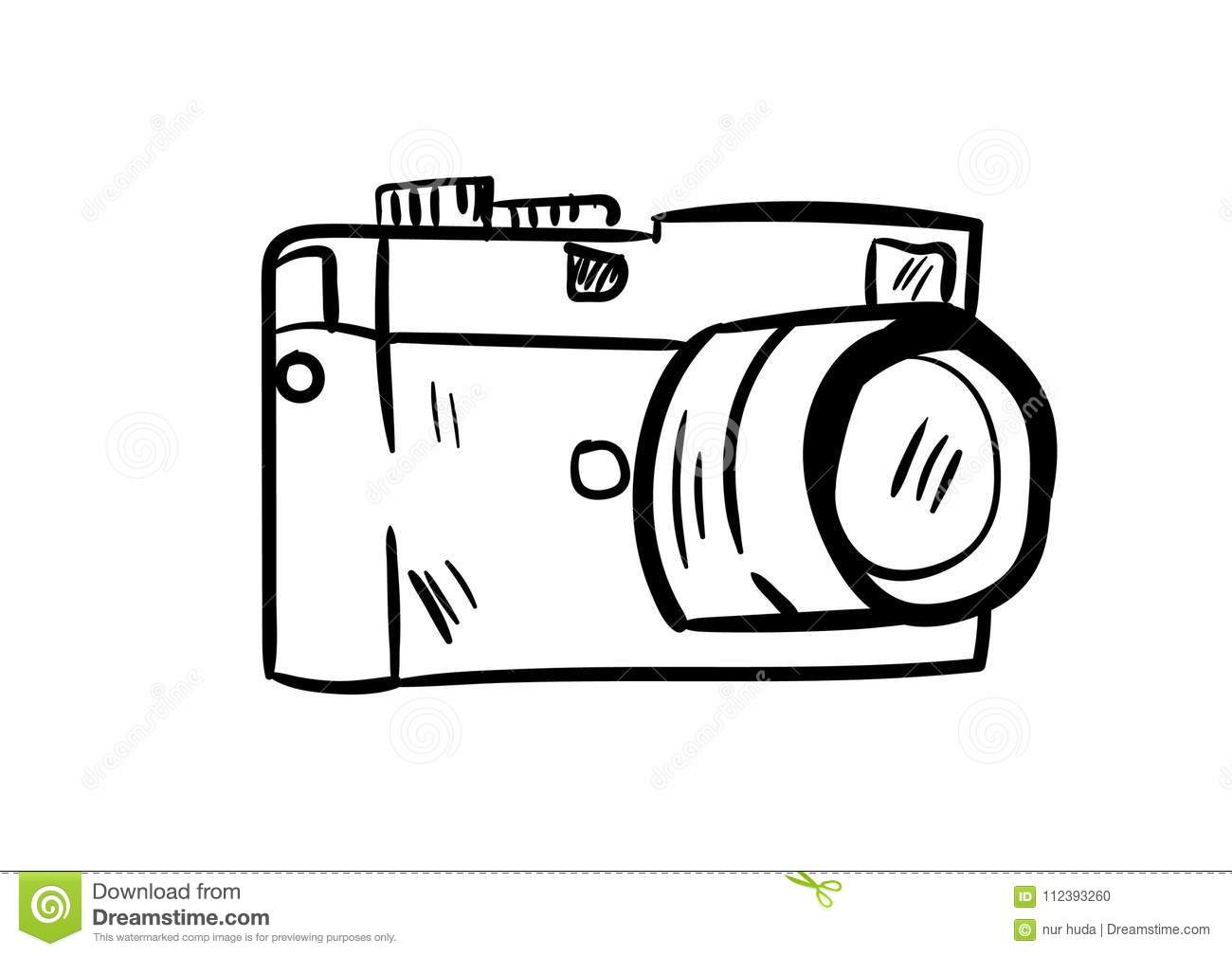 Camera Icon Vector With Doodle Style Stock Vector