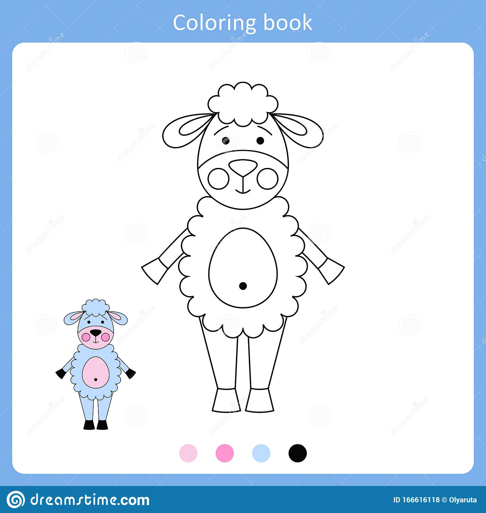 Vector Illustration Of Sheep For Coloring Book Stock
