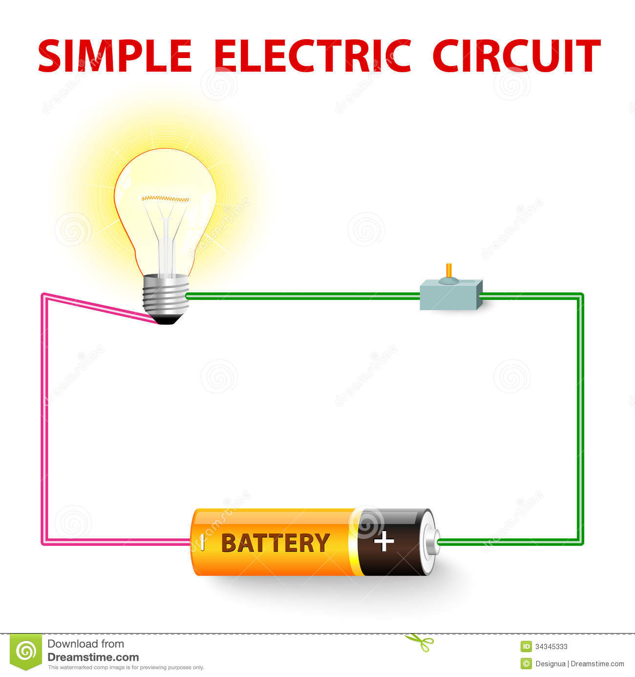 A Simple Electric Circuit Stock Vector Illustration Of Closed