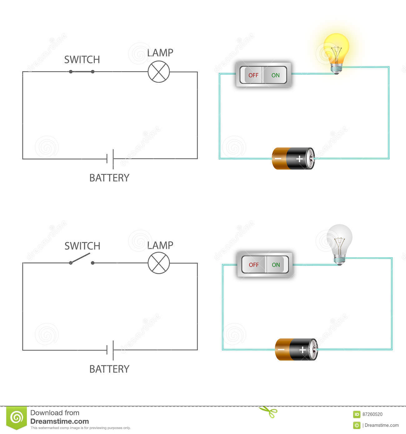 Simple Electric Circuits Stock Vector Illustration Of