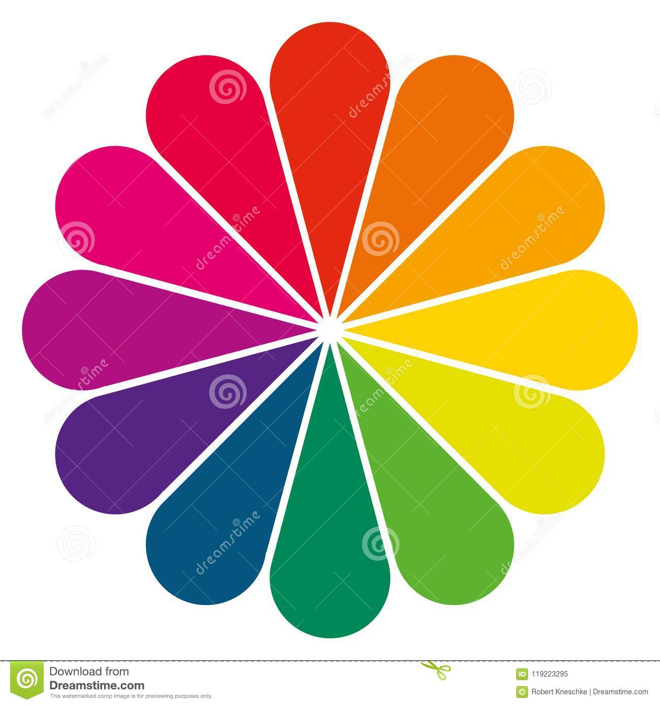Simple Color Wheel As A Flower Stock Illustration