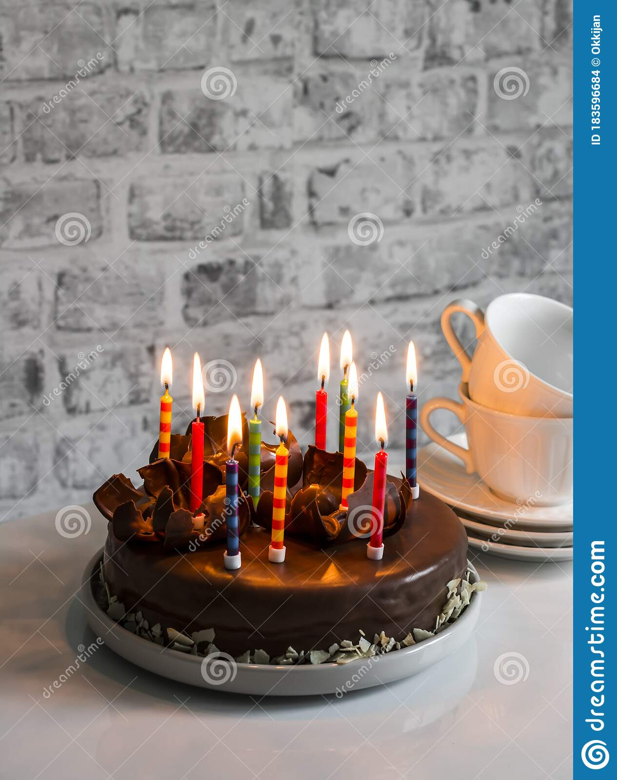 Simple Homemade Chocolate Birthday Cake With Burning Candles On The Table Holiday Concept Stock Photo Image Of Cake Holiday 183596684
