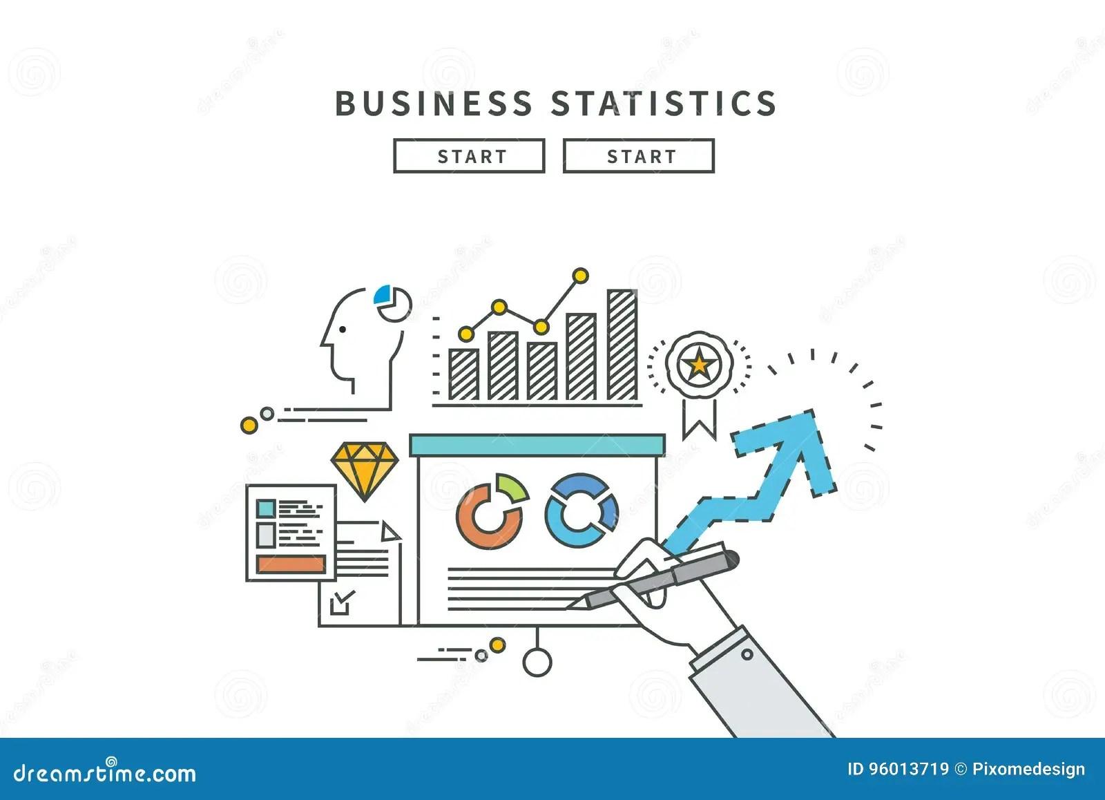 Simple Line Flat Design Of Business Statistics Modern