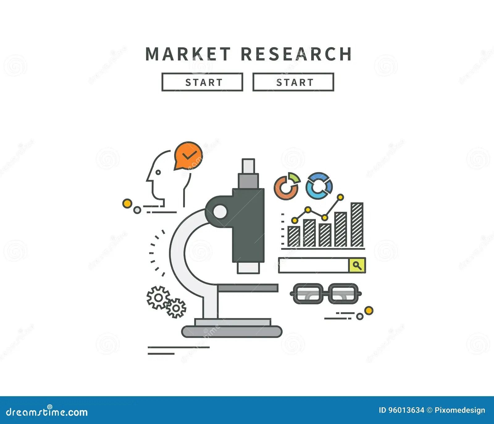 Simple Line Flat Design Of Market Research Modern