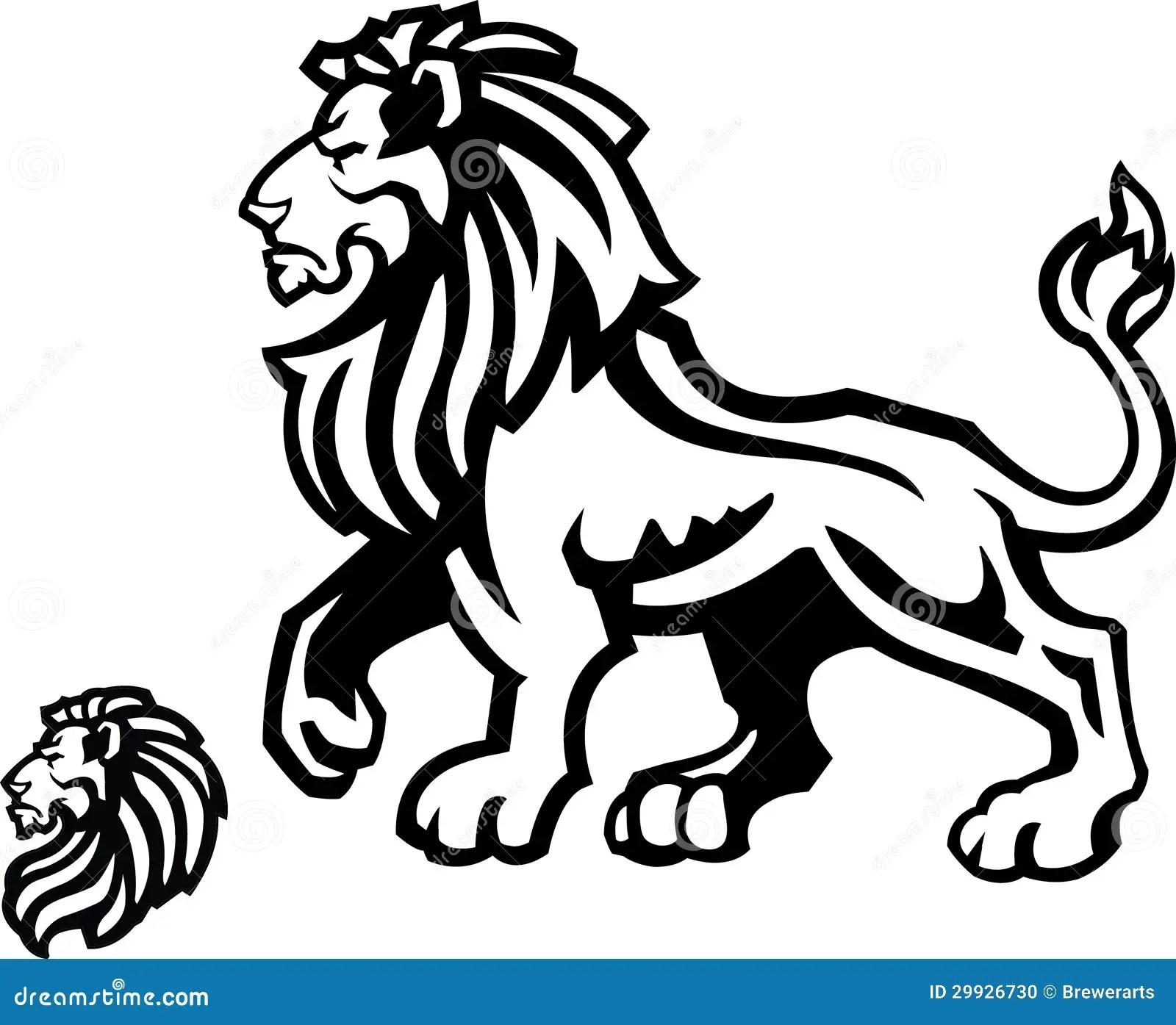 Lion Mascot Profile On White Stock Photo