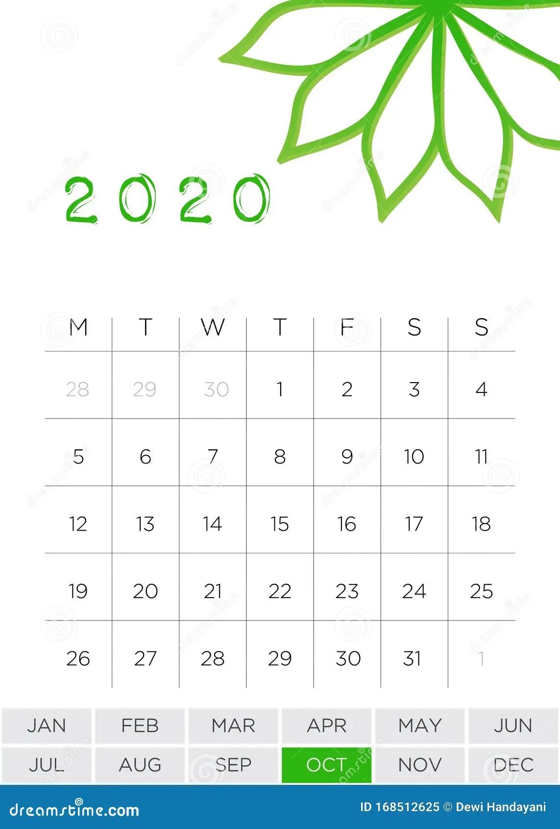 Simple Monthly Calendar October Stock Vector