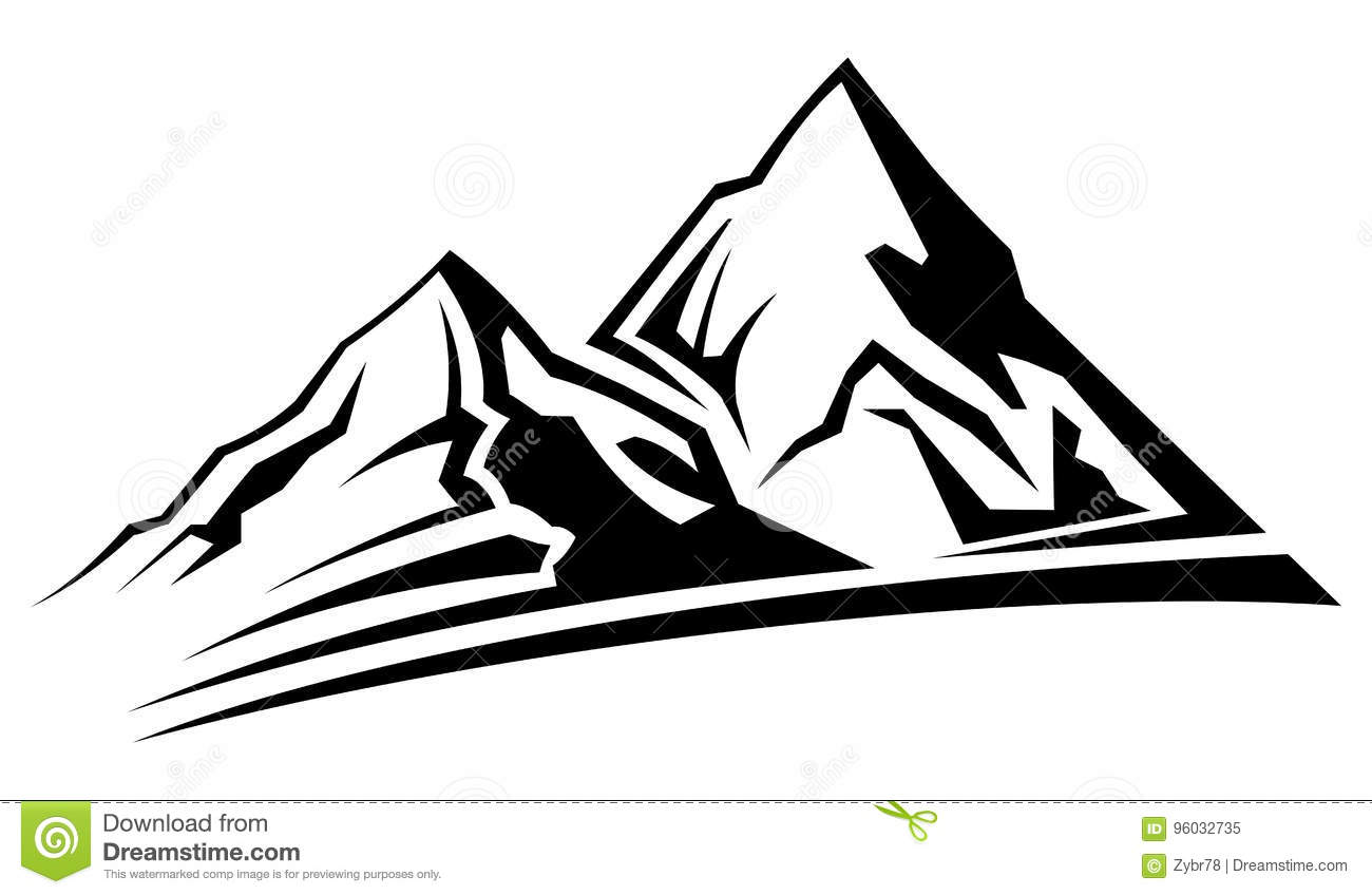 Simple Mountain Silhouette Stock Vector Illustration Of