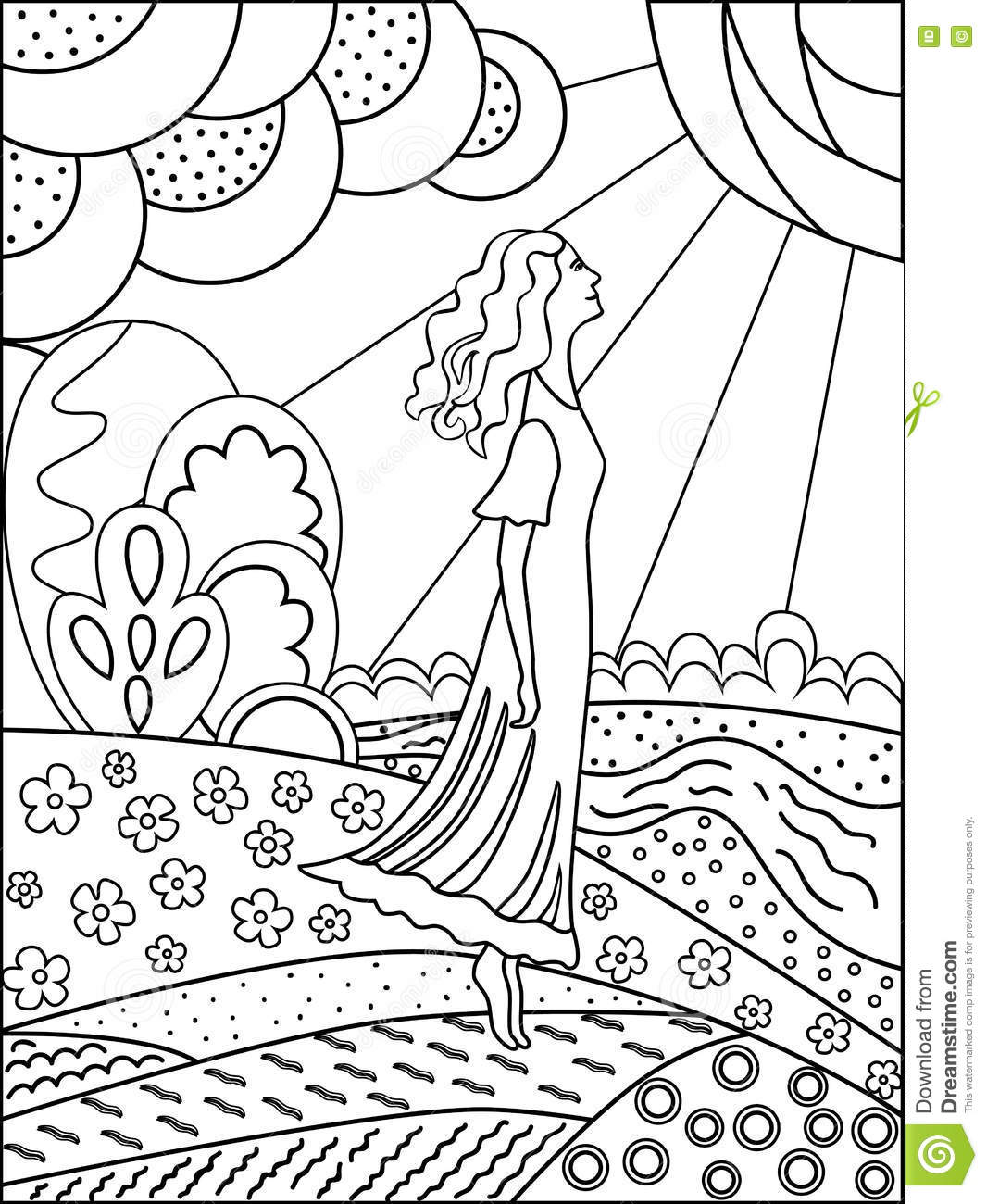 Simple Outline Drawing For Coloring Woman And Nature