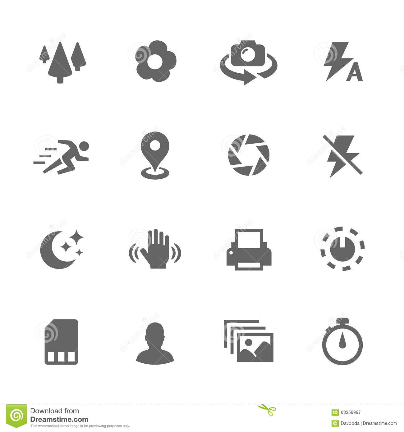 Simple Photo Mode Icons Stock Vector