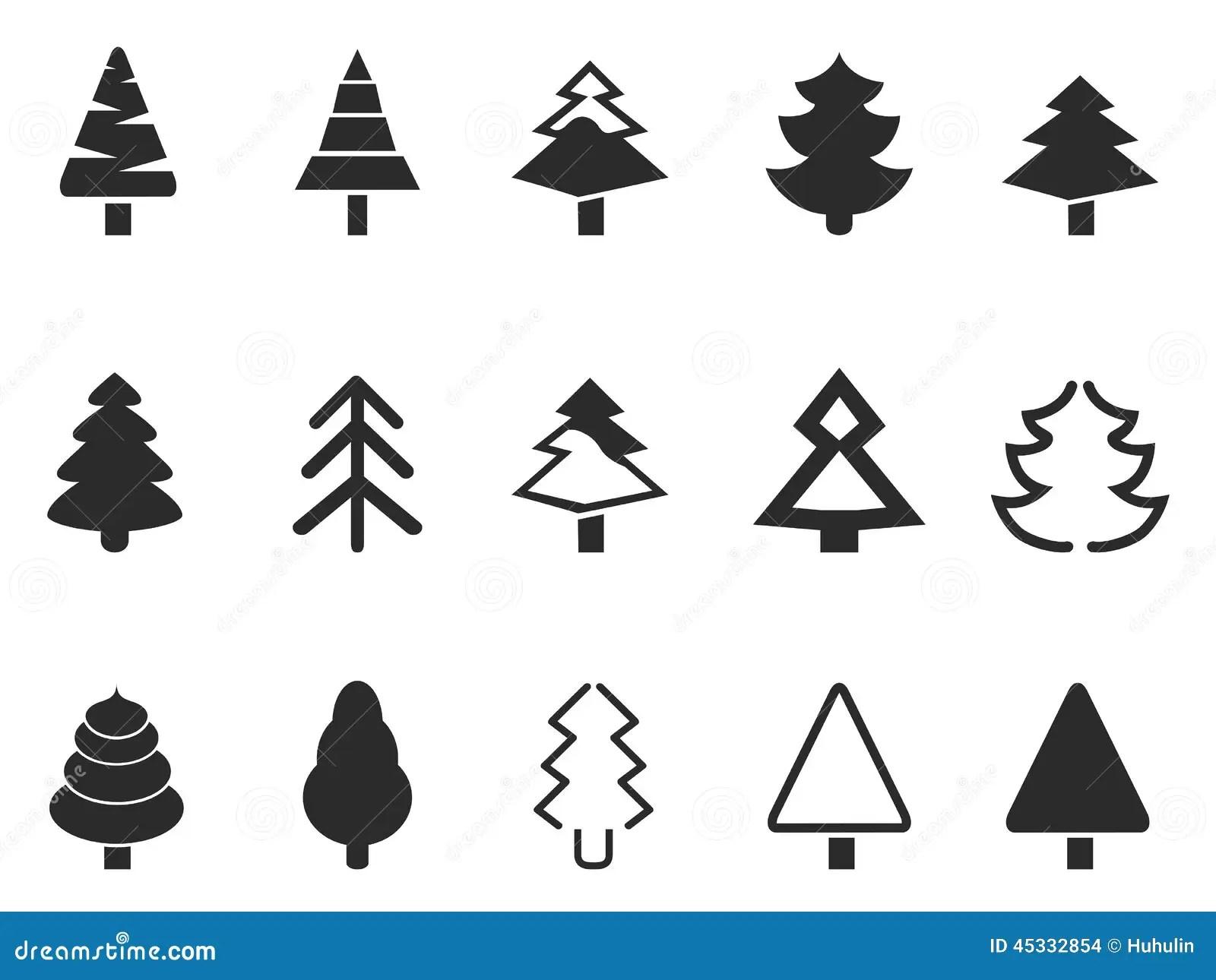 Simple Pine Tree Icons Set Stock Vector