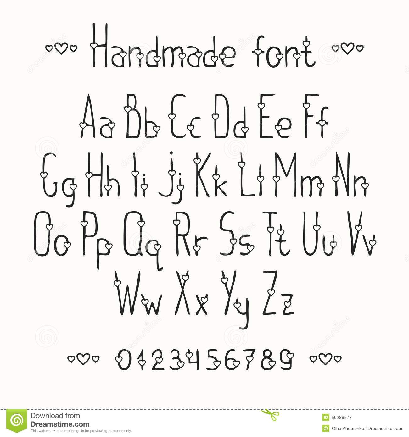 Simple Romantic Hand Drawn Font With Hearts Stock Vector