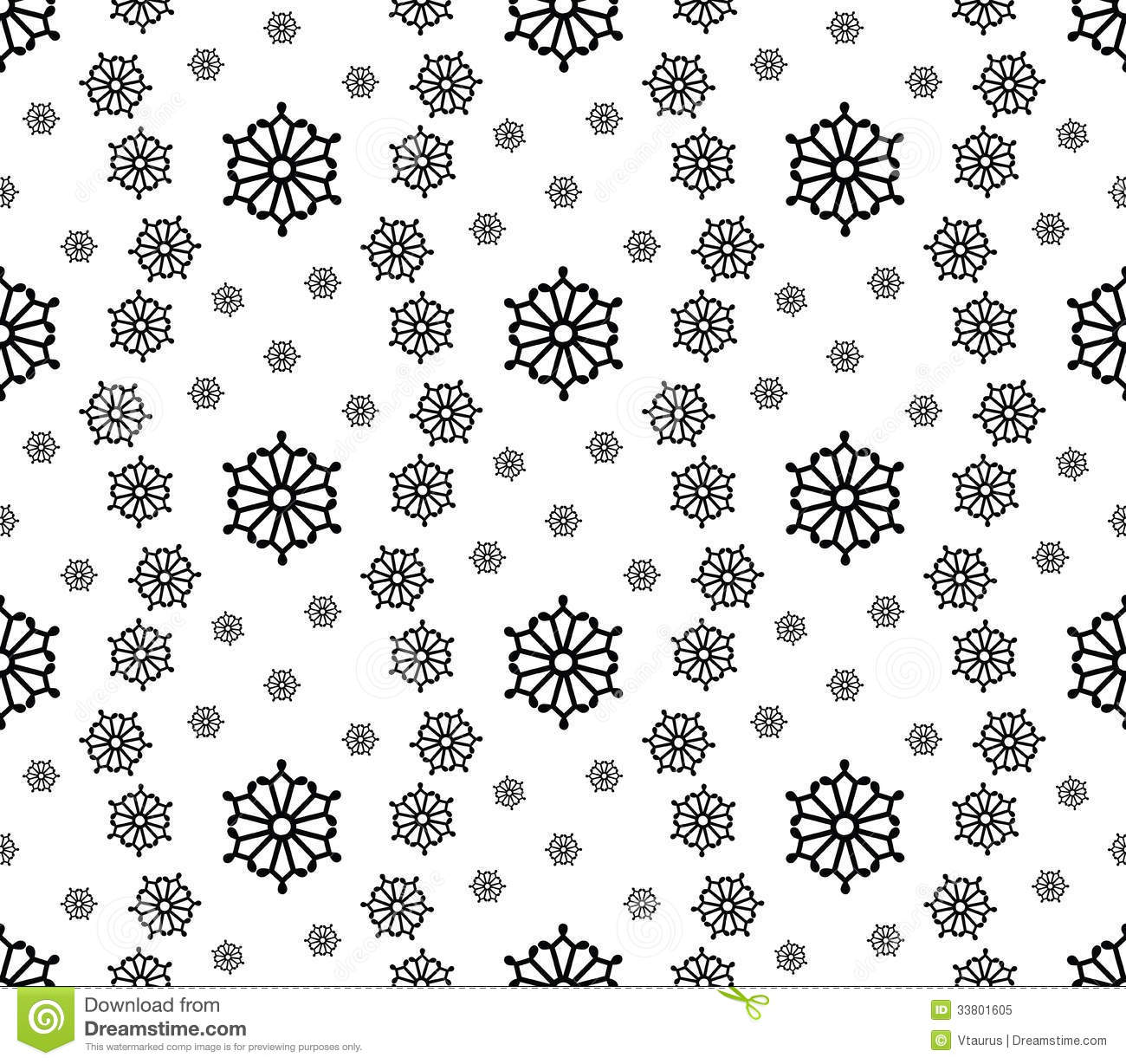Simple Round Snowflakes Stock Vector Image Of Seamless