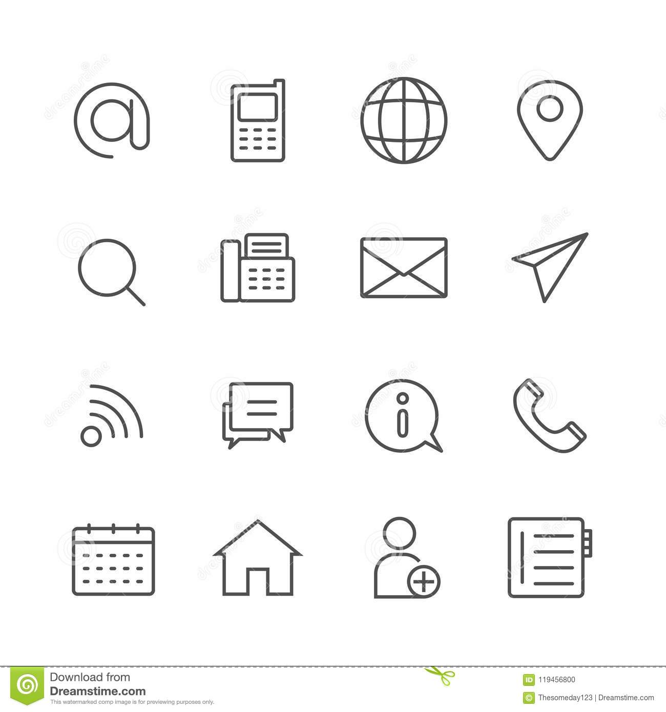 Simple Set Of Contact Us Vector Thin Line Icons Stock