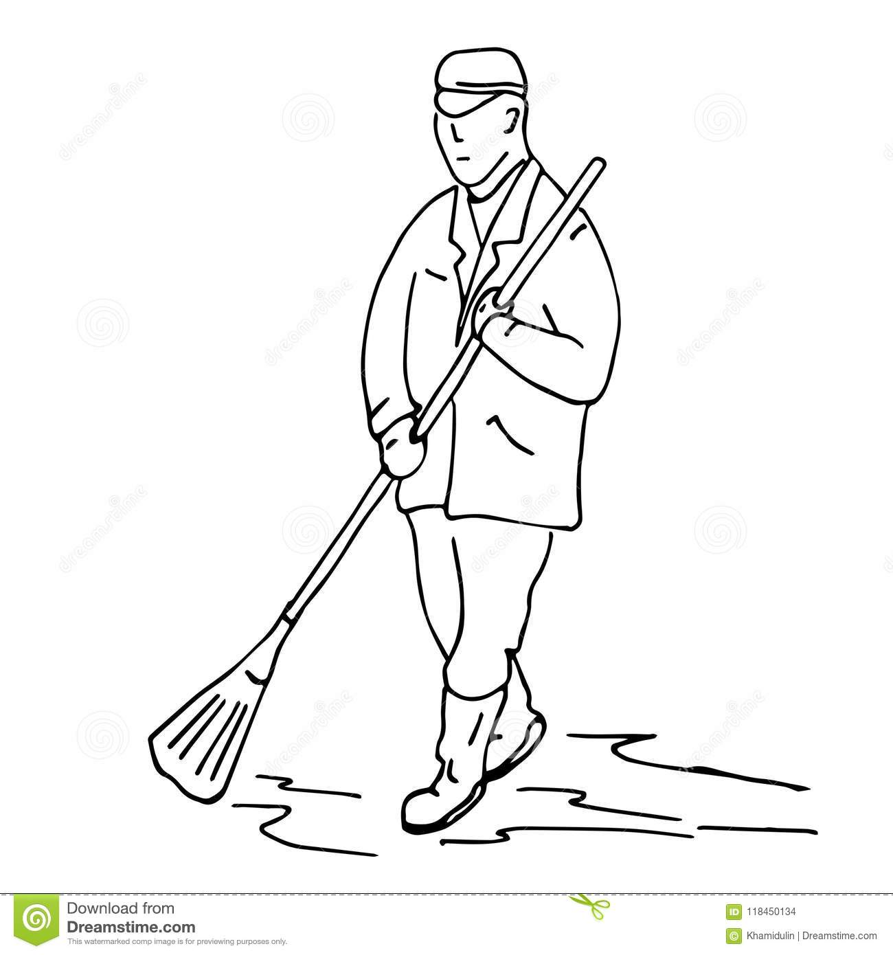 A Simple Sketch Of A Janitor Of A Street That Hits The