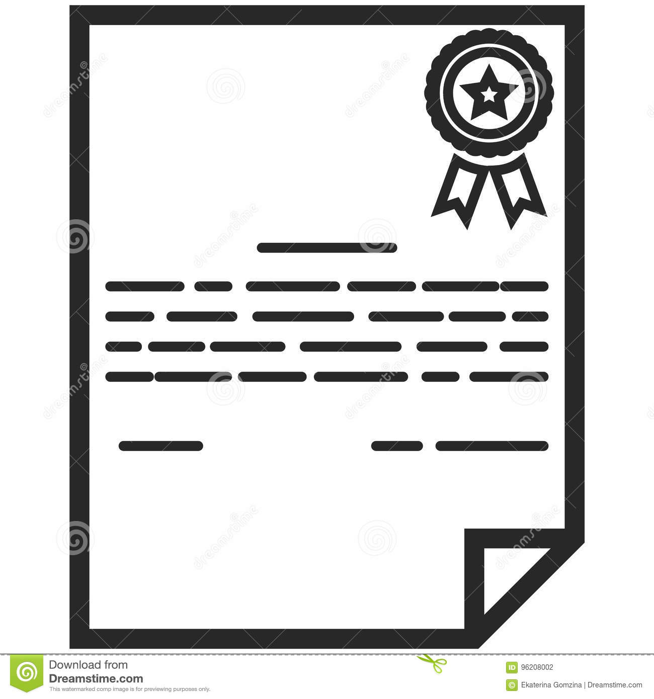 Simple Vector Icon Of A Classic Certificate In Line Art