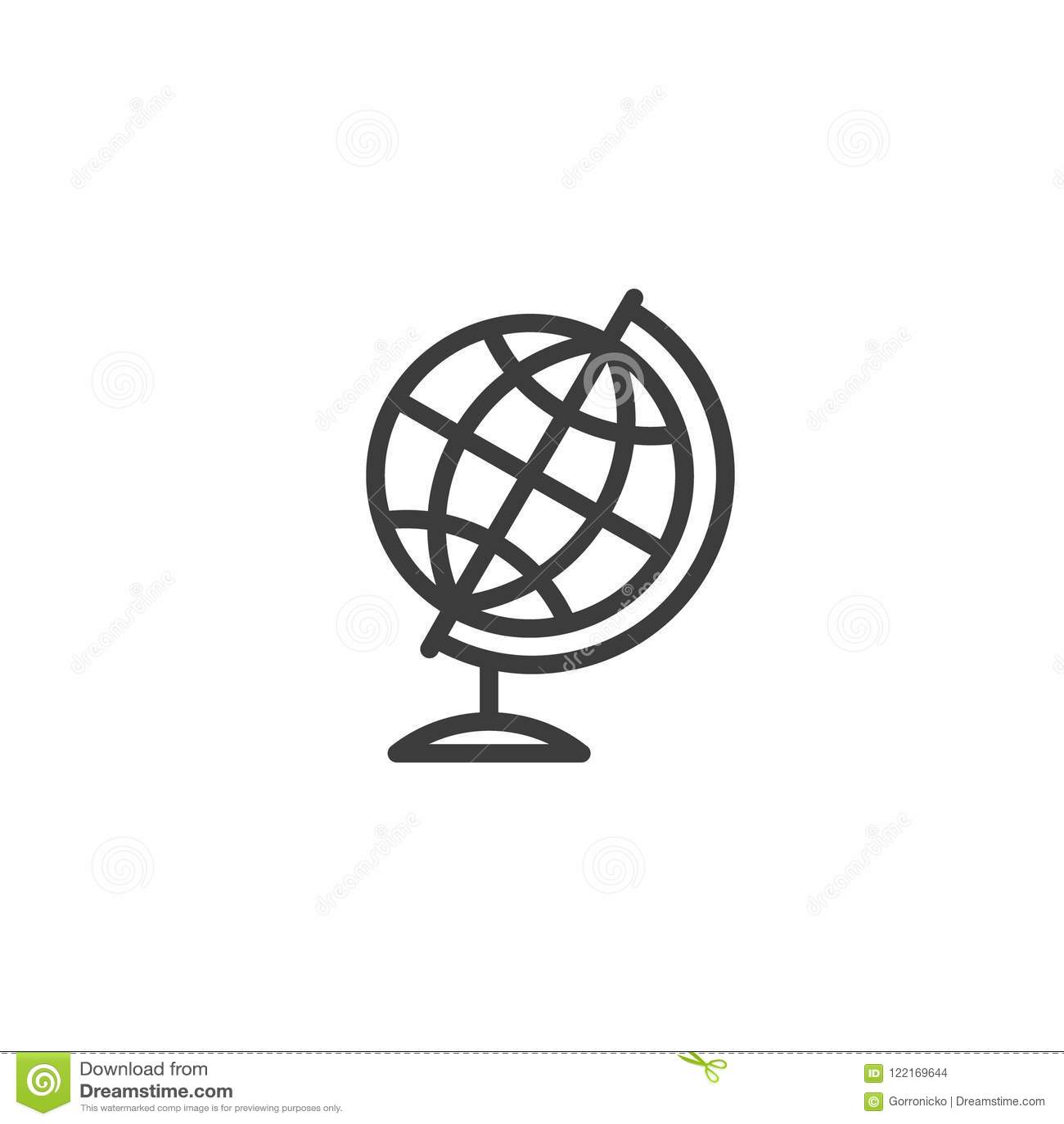 Globe Meridians Earth Model Cartoon Vector