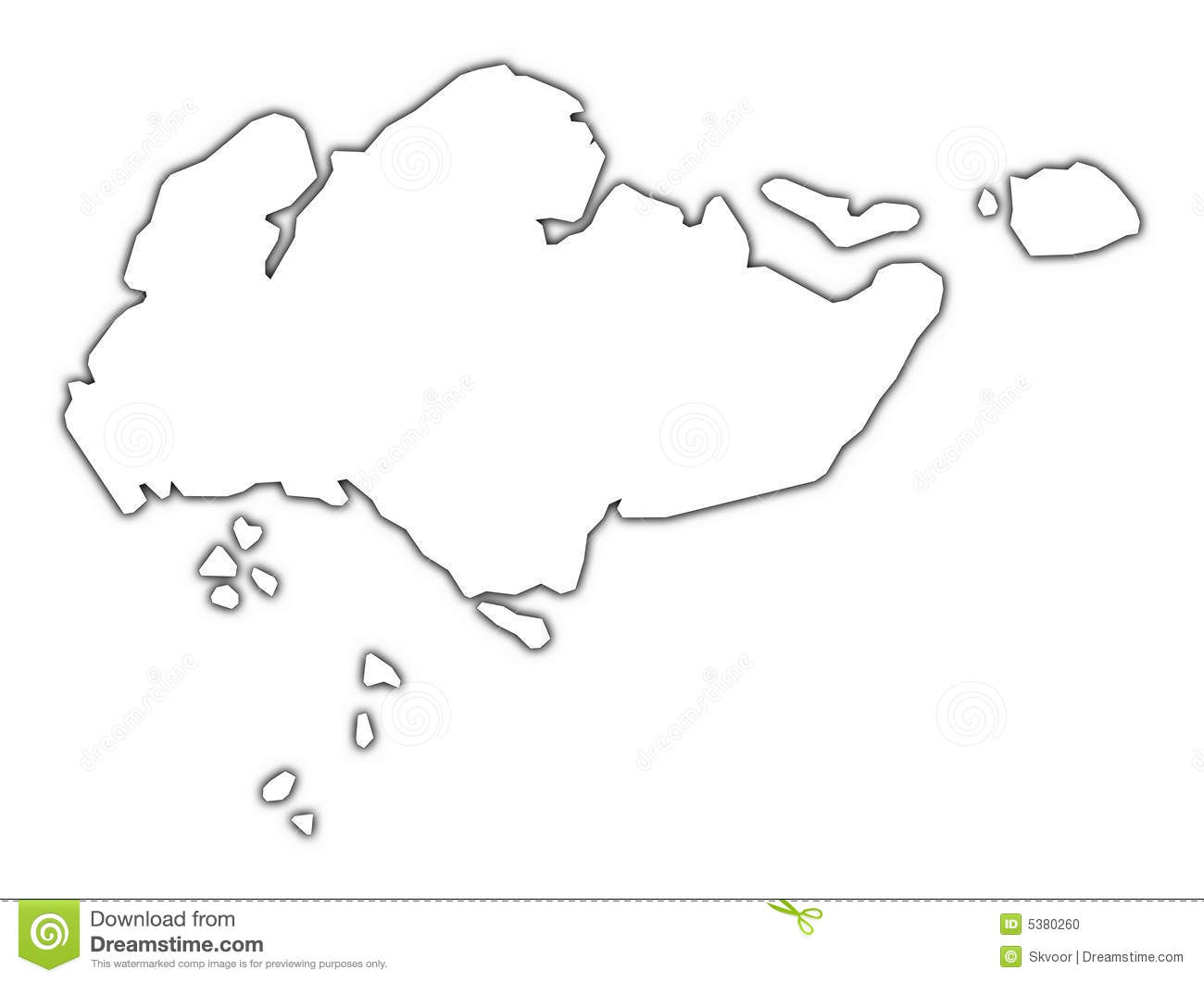 Singapore Outline Map Stock Illustration Illustration Of