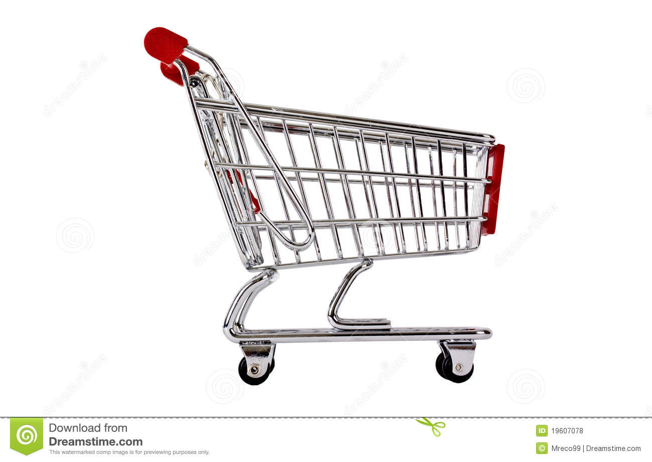 Single Shopping Trolley Side View Isolated Royalty Free