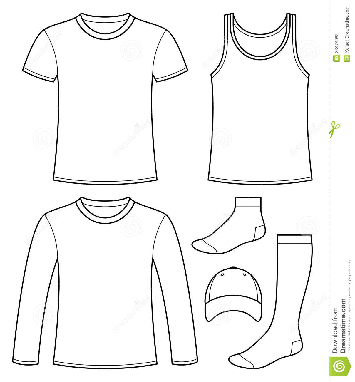 Singlet T Shirt Long Sleeved T Shirt Cap And So Stock Vector