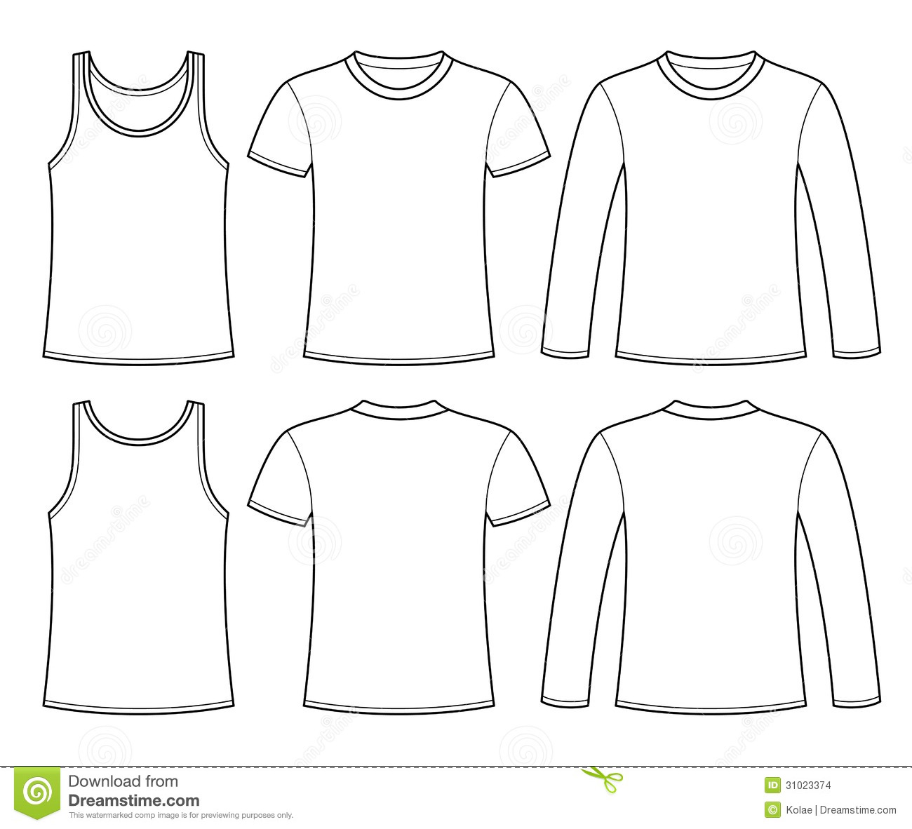 Singlet T Shirt And Long Sleeved T Shirt Template Stock