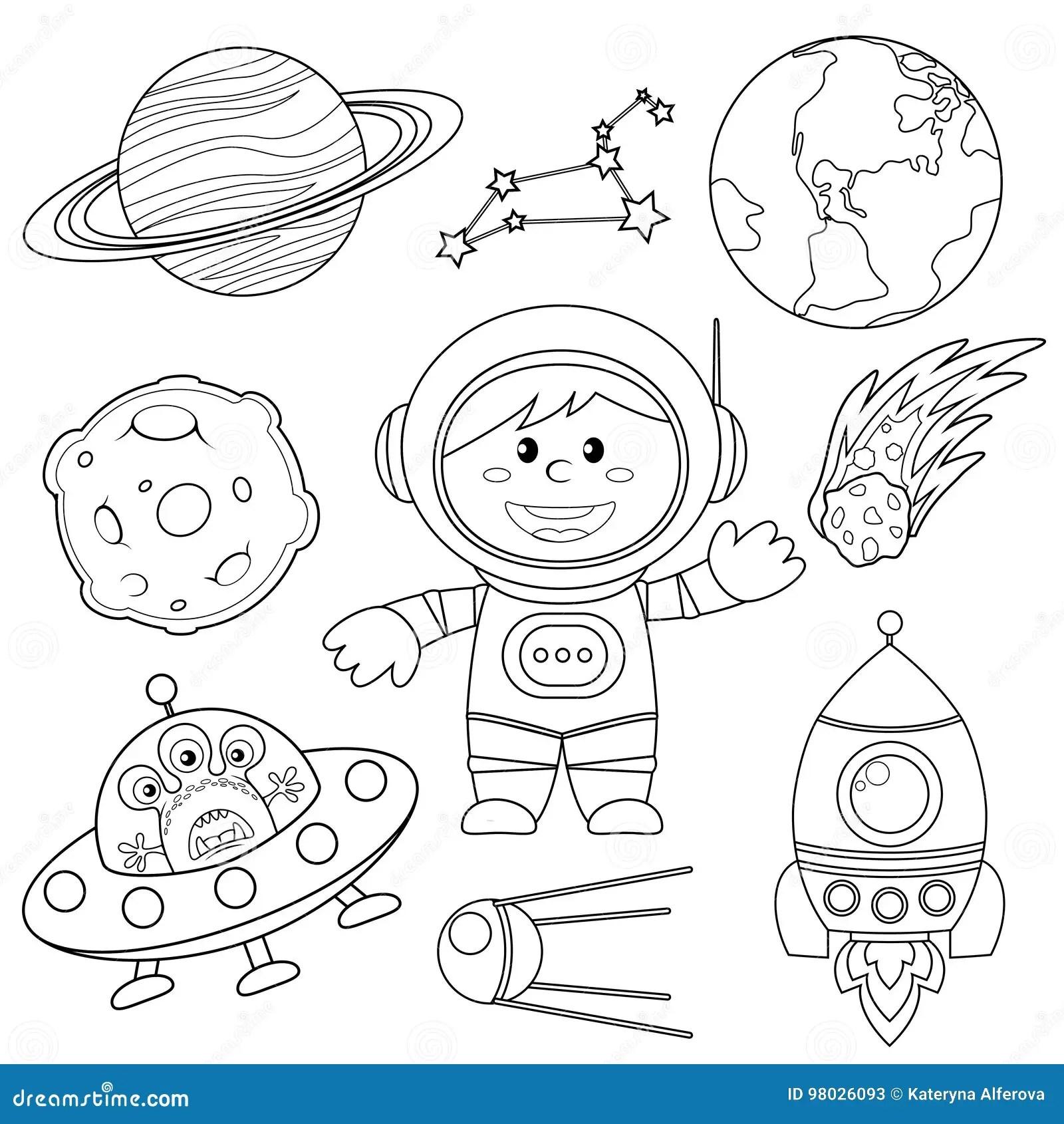 Sistema De Elementos Del Espacio Astronauta Tierra