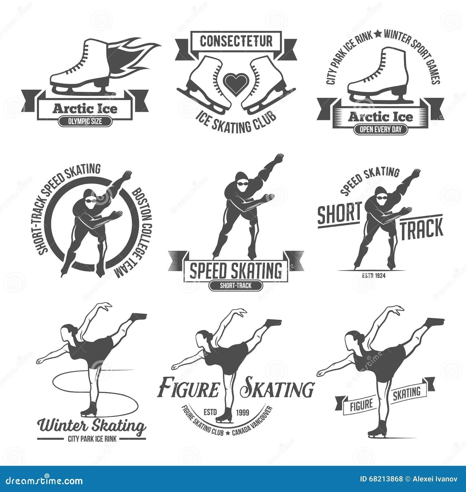 Sistema Del Logotipo De La Etiqueta Del Patinaje De Hielo