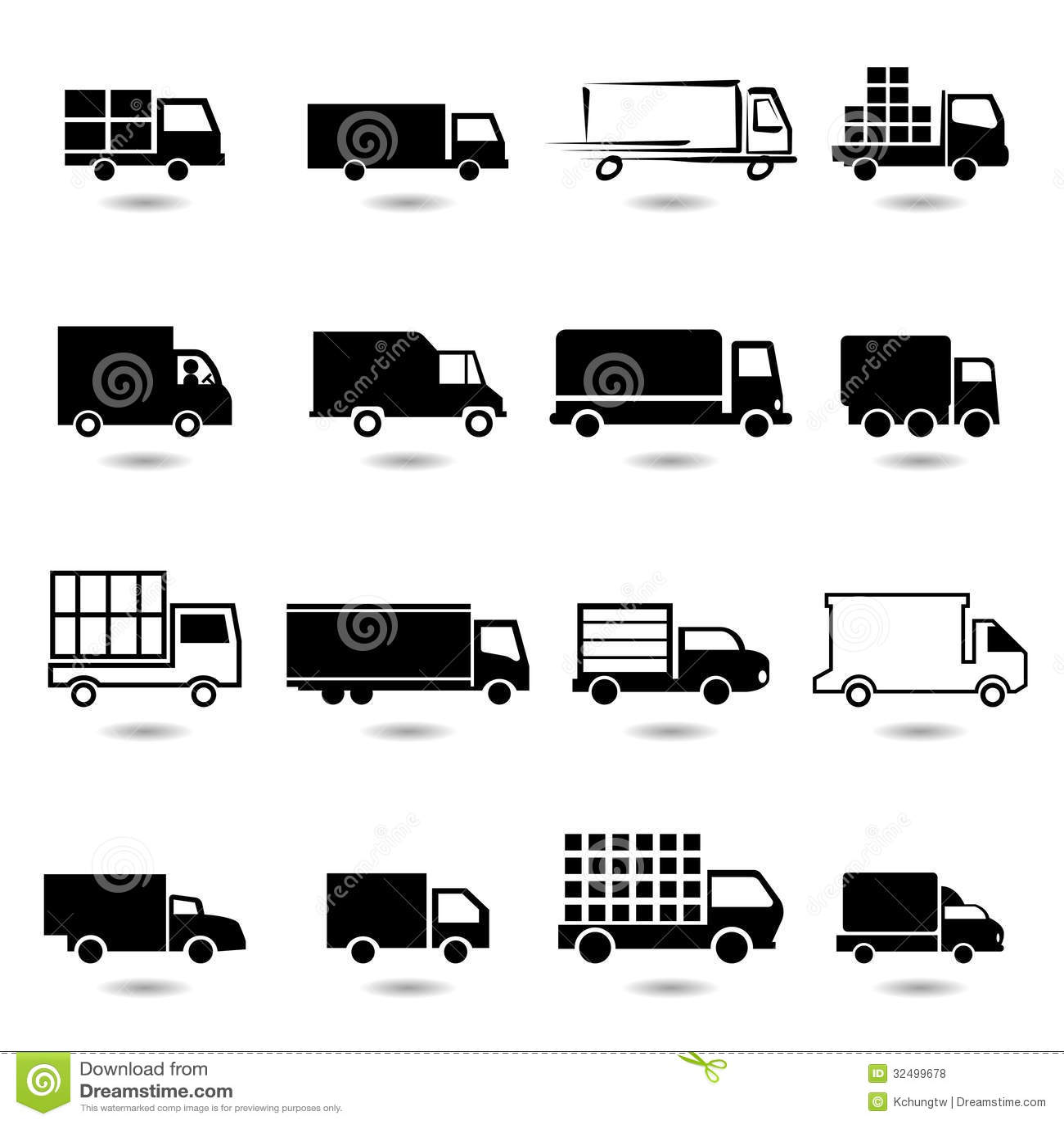 Sistema Del Vector De Diversos Iconos Del Camion