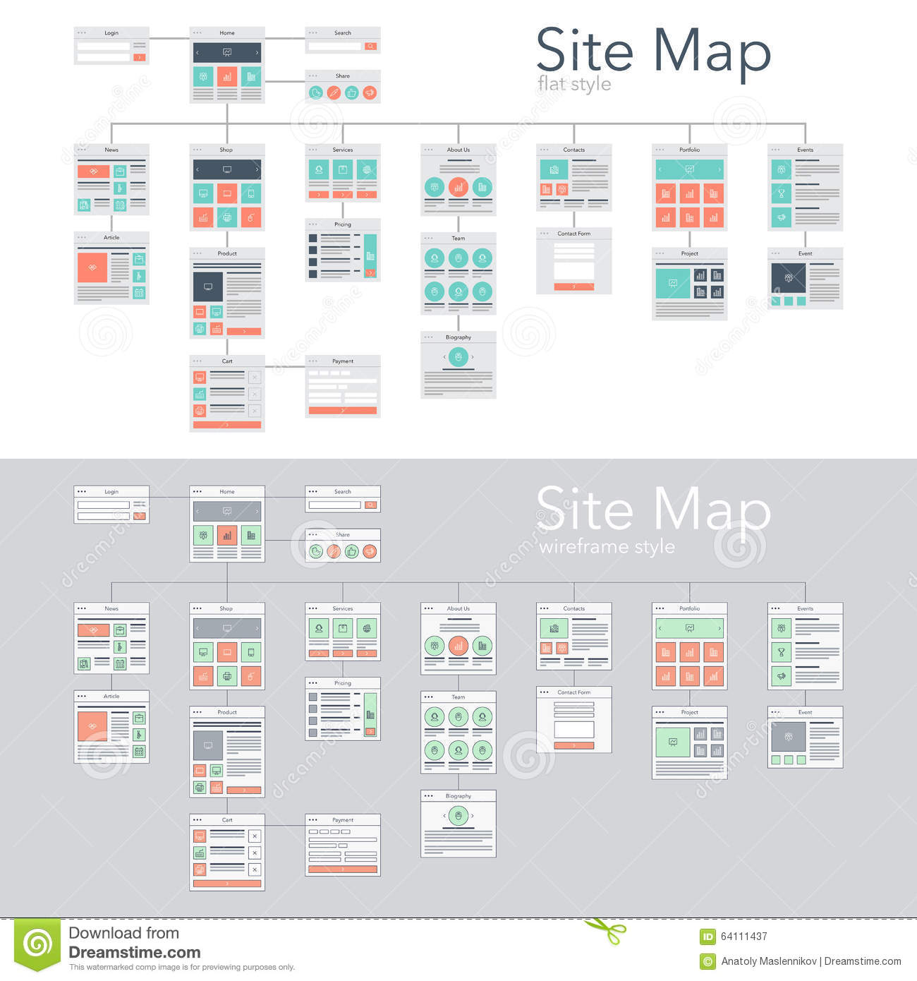 Site Map Stock Vector Image 64111437