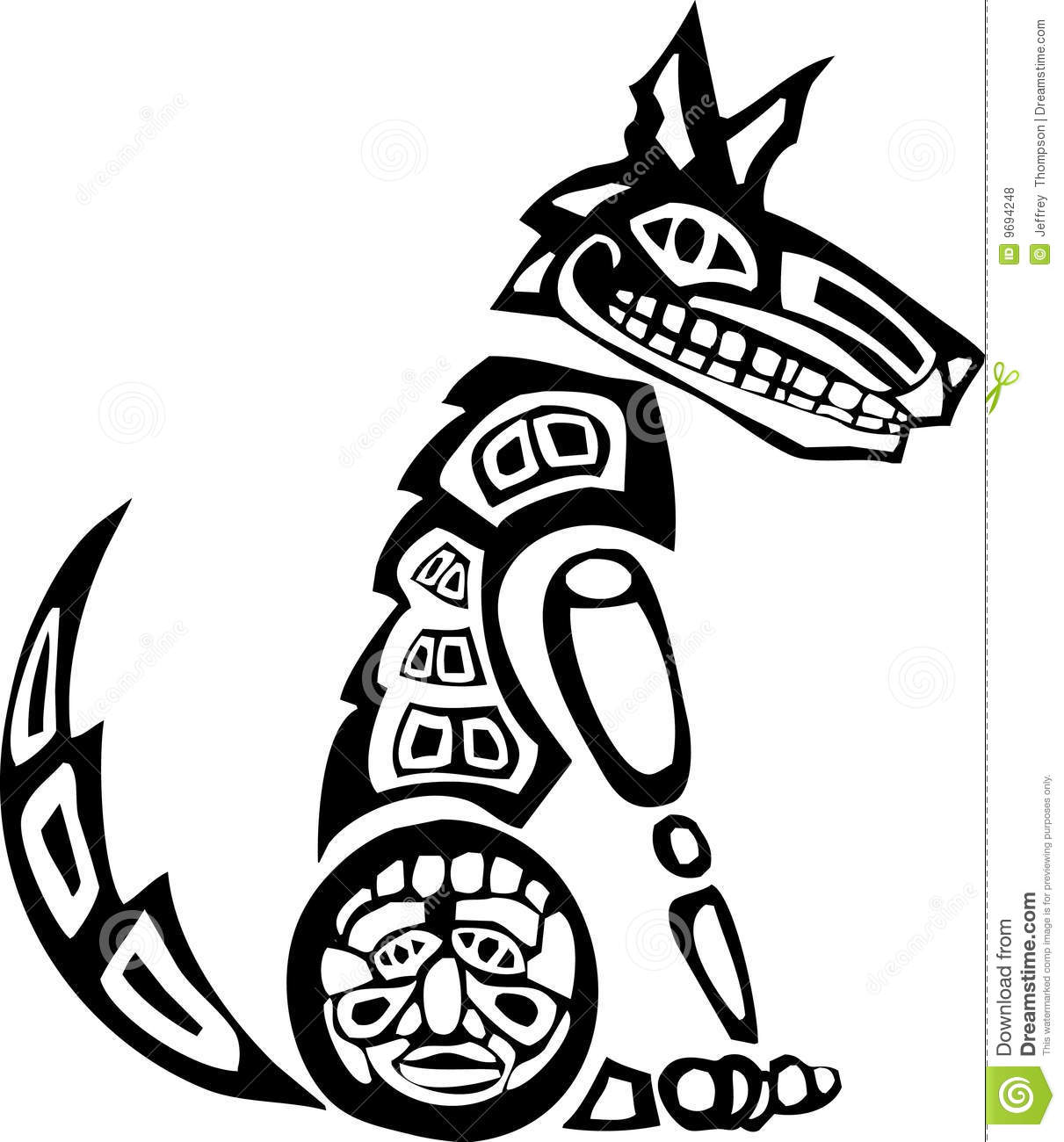 Sitting Coyote Stock Vector Illustration Of Tribe Craft