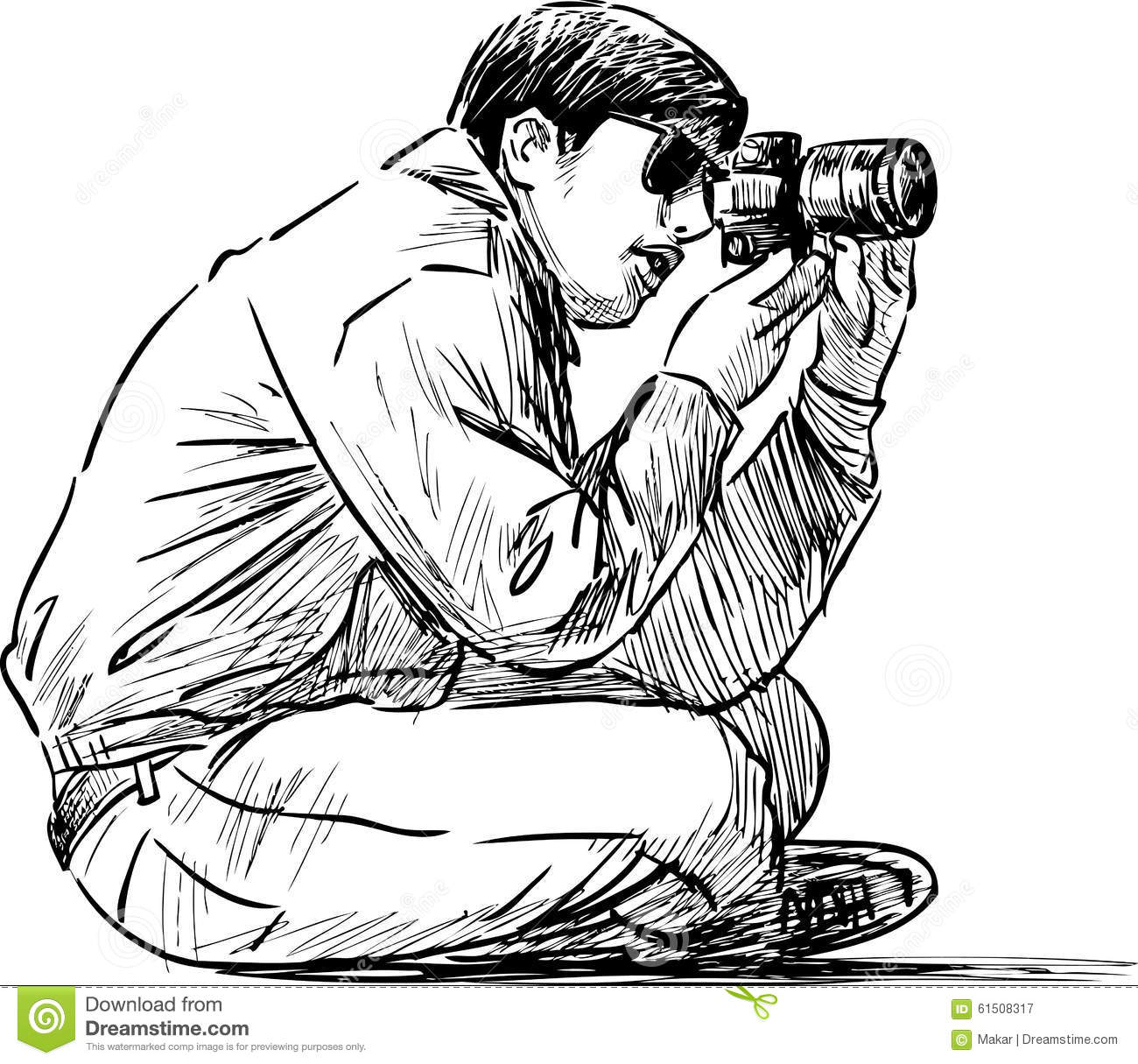 Sitting Photographer Stock Vector Illustration Of Picture