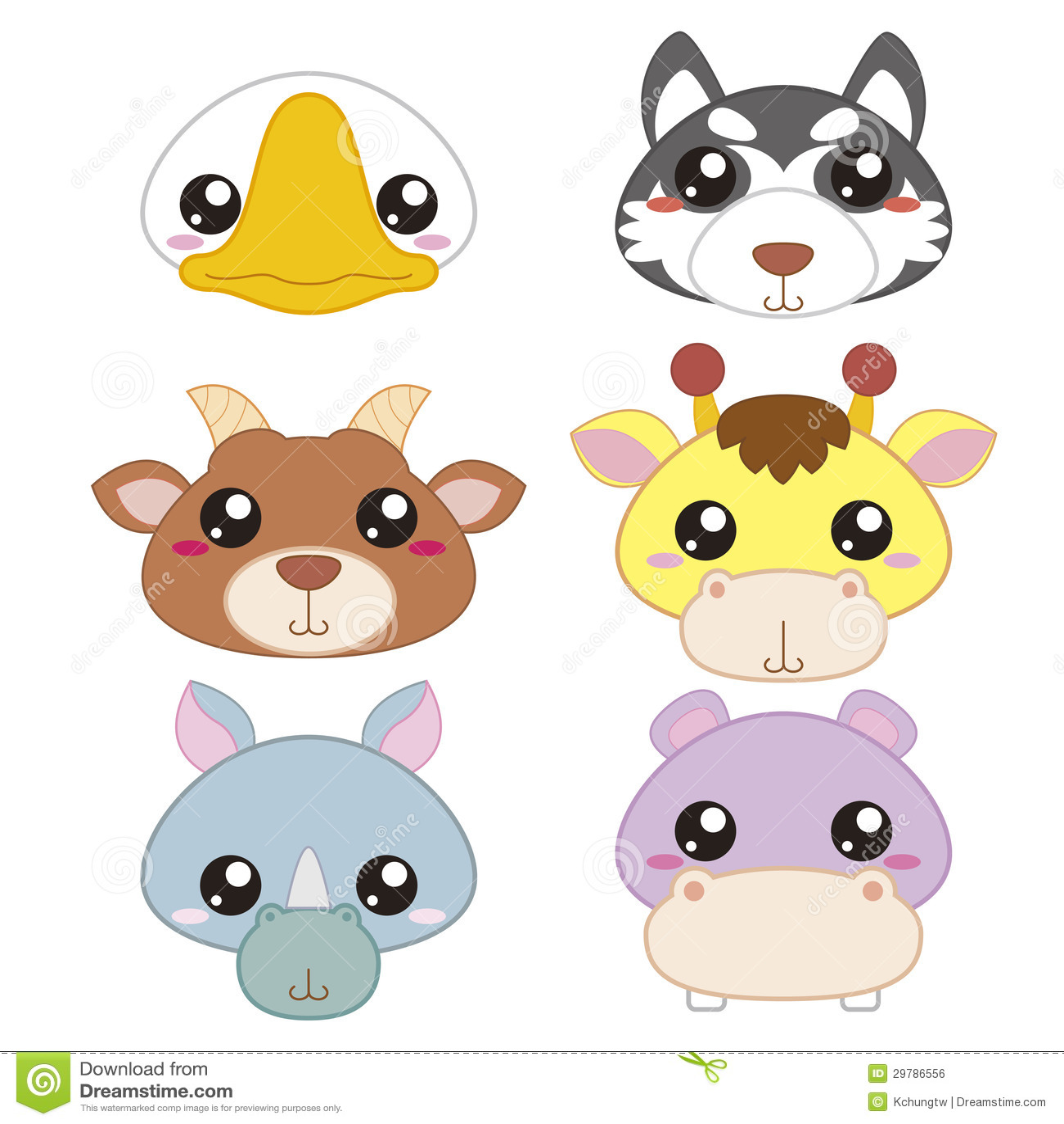 Six Cute Cartoon Animal Head Stock Vector