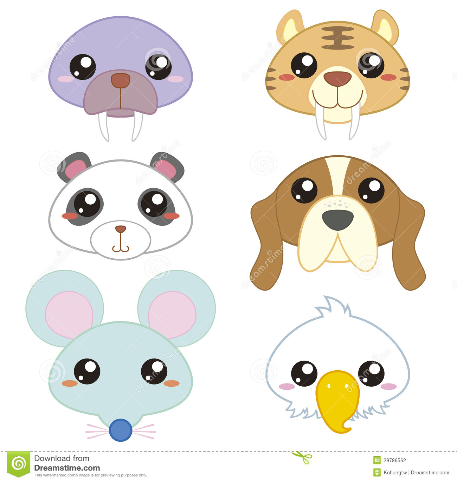 Six Cute Cartoon Animal Head Stock Photography