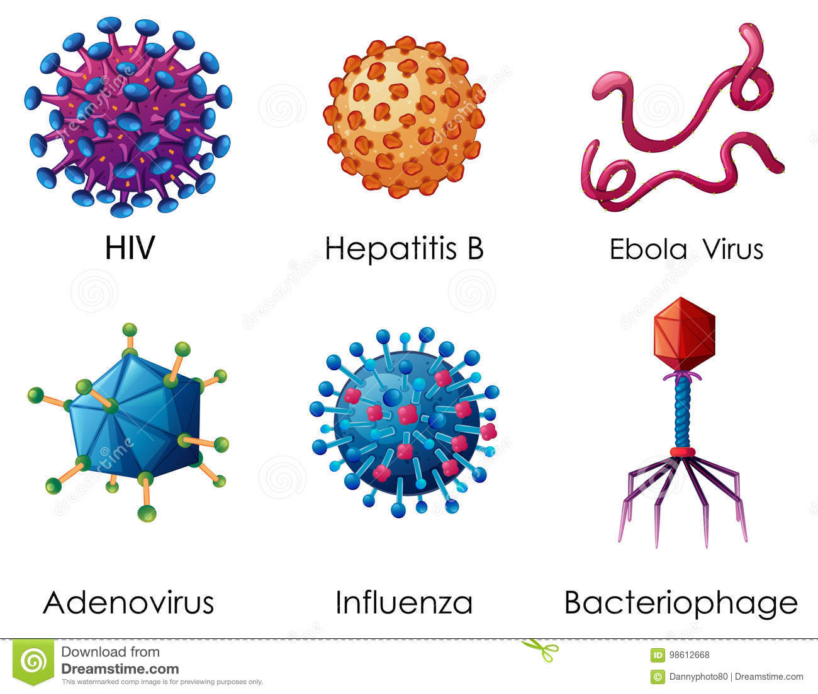Six Types Of Viruses On White Background Stock Vector