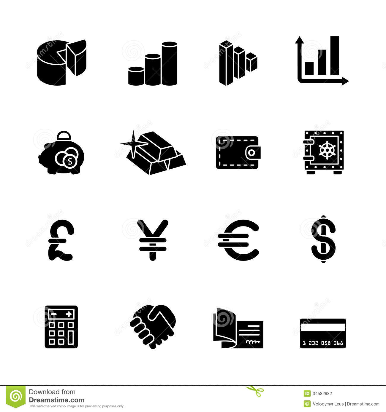 Sixteen Black Computer Icons Stock Vector