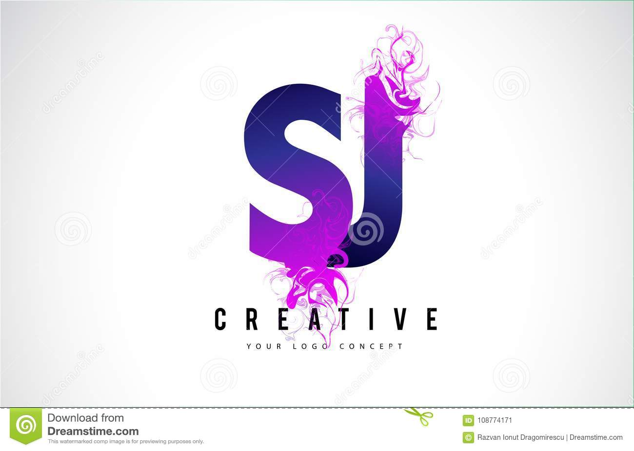 Sj S J Purple Letter Logo Design With Creative Liquid Effect Flowing Vector Illustration