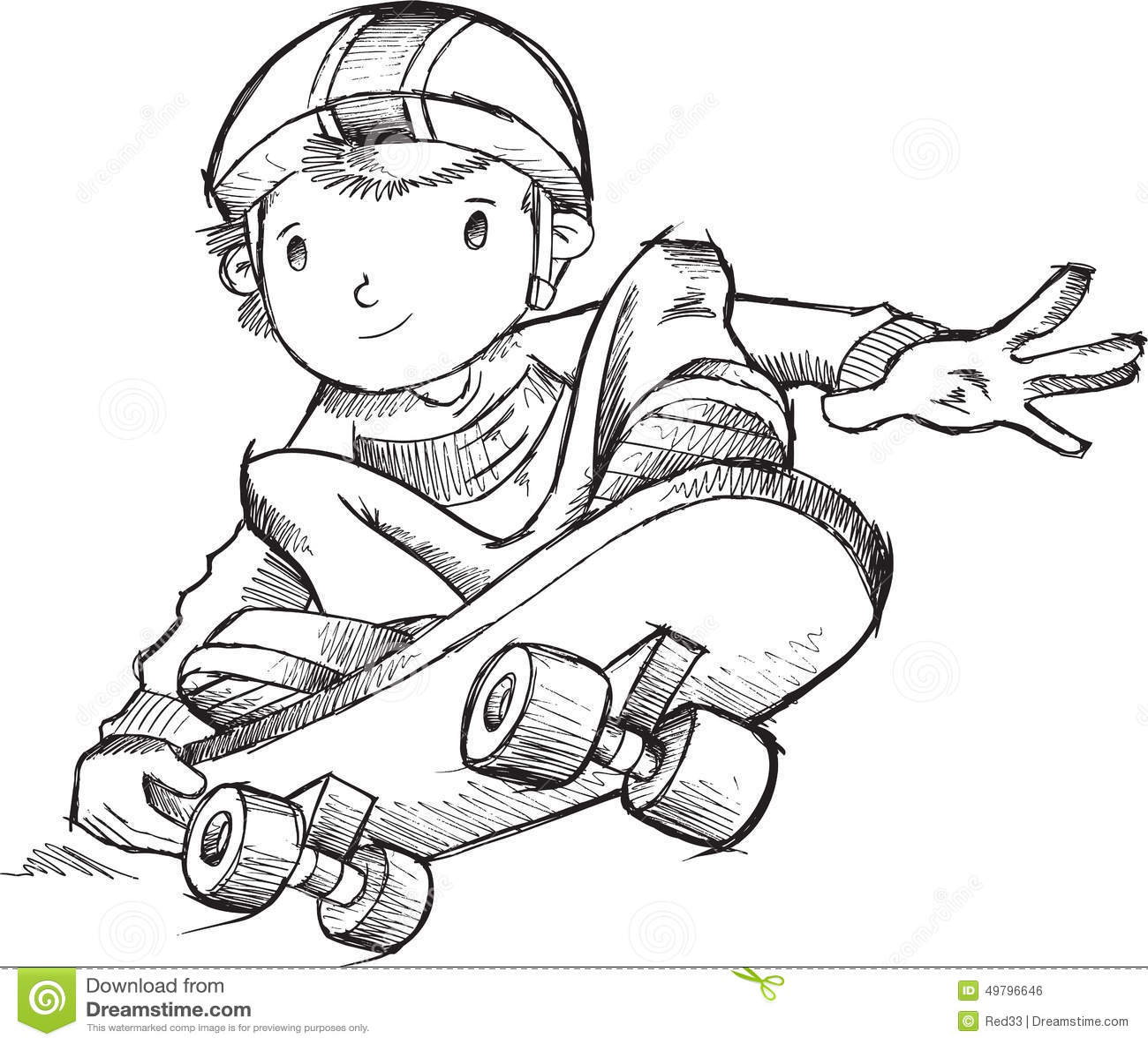 Skateboarder Doodle Vector Stock Vector