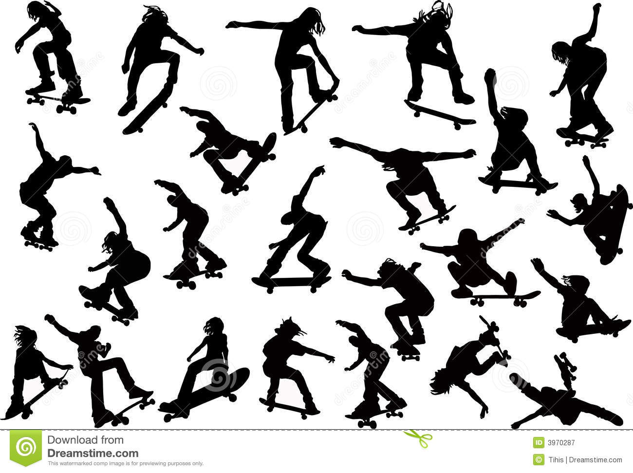 Skateboarders Silhouettes Stock Vector Image Of Freestyle