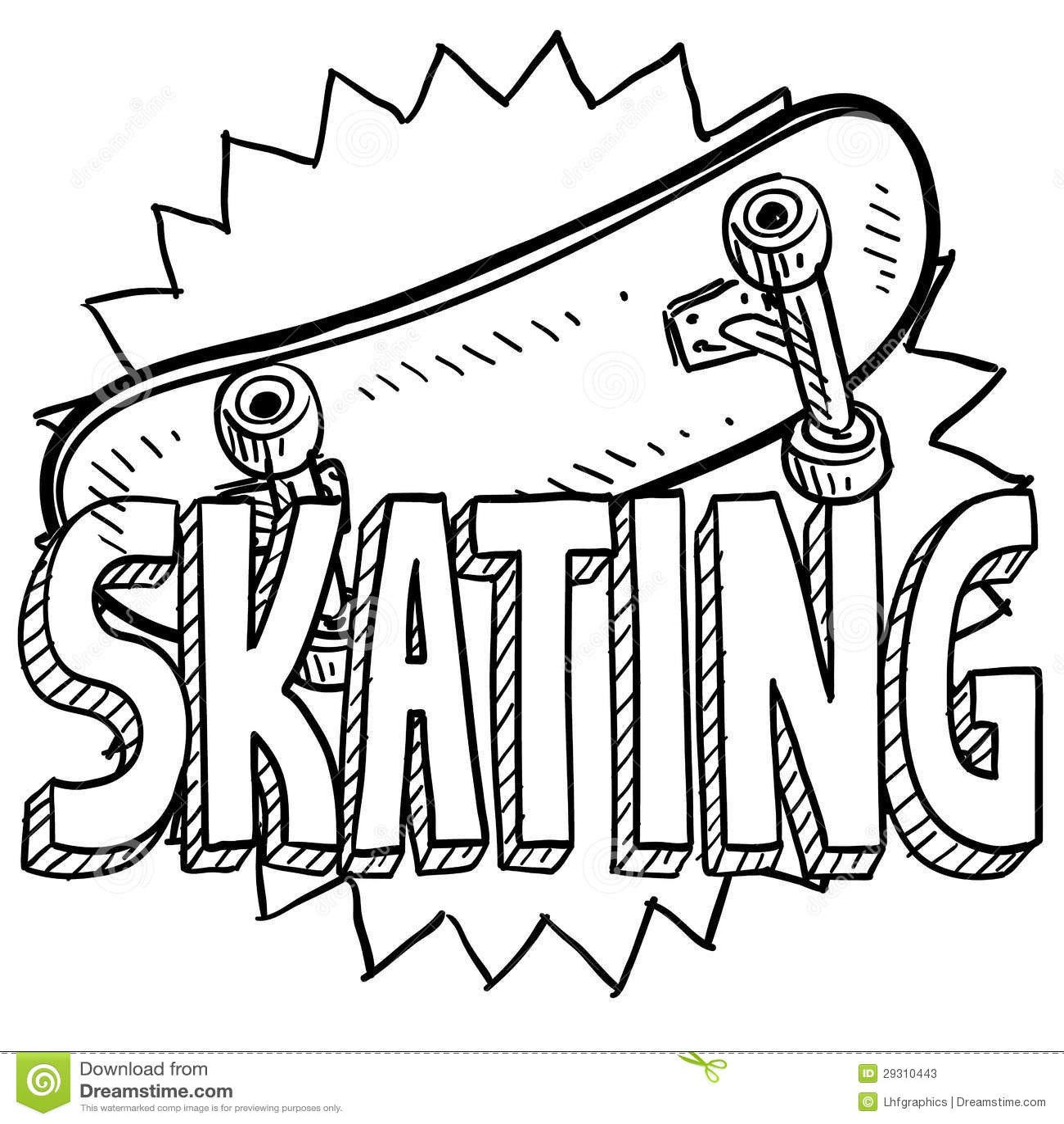 Skateboarding Sketch Stock Vector Illustration Of Pads
