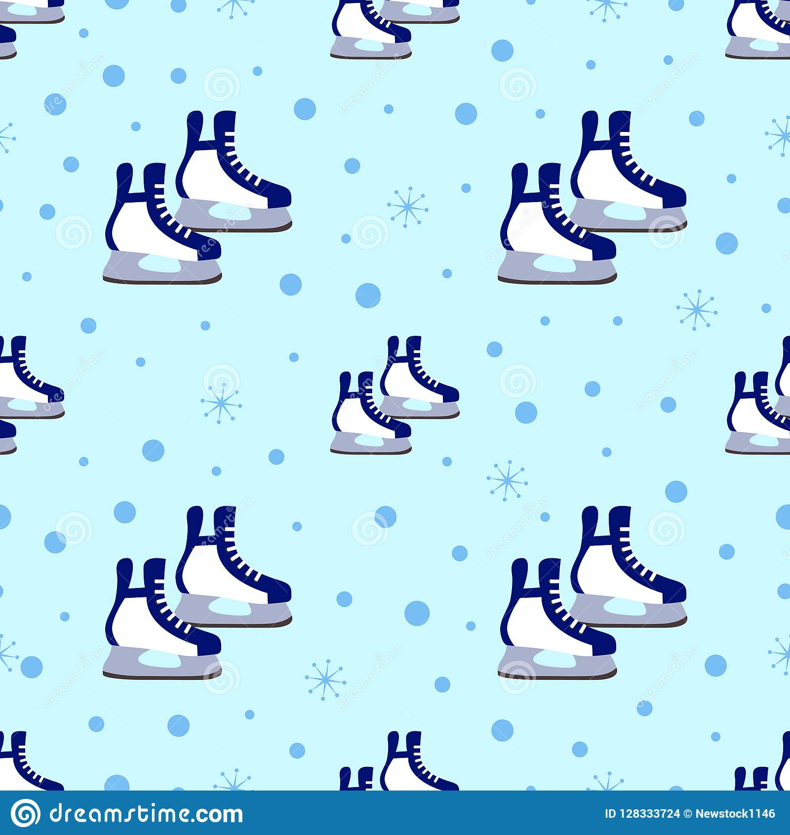 Skates Seamless Pattern Winter Sports Vector Illustration