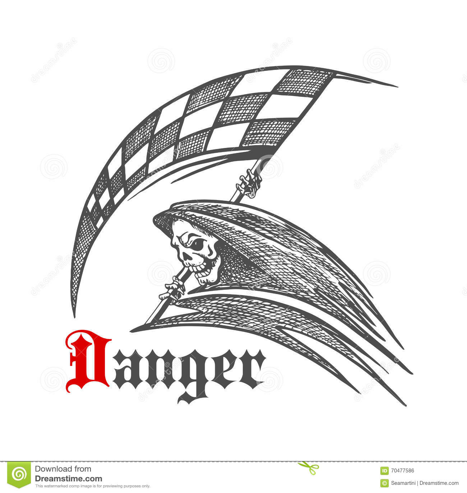 Skeleton Or Grim Reaper With Racing Flag Symbol Stock