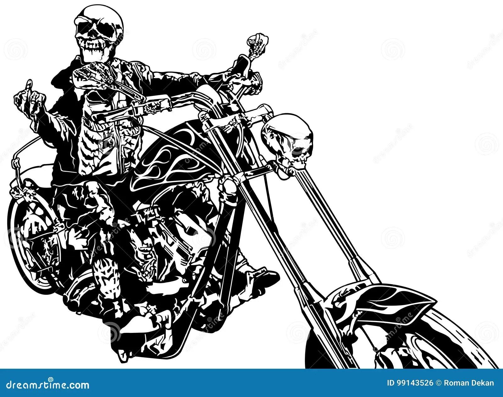 Skeleton Rider On Chopper Stock Vector Illustration Of