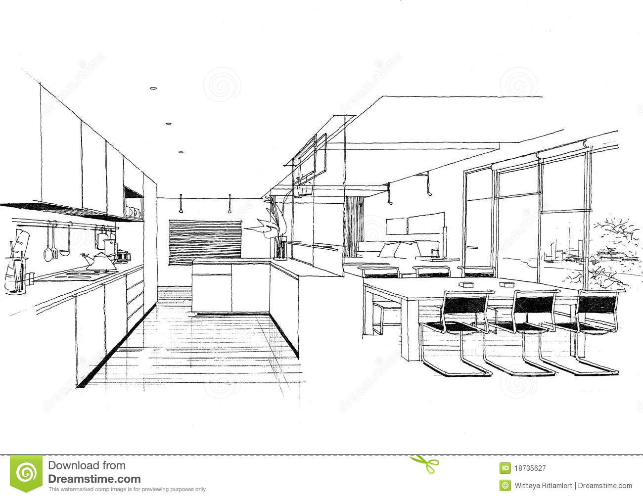 Sketc Interieur D Horizontal De Construction D