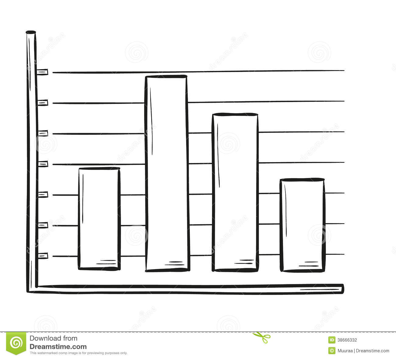 Sketch Of The Bar Chart Stock Vector Illustration Of