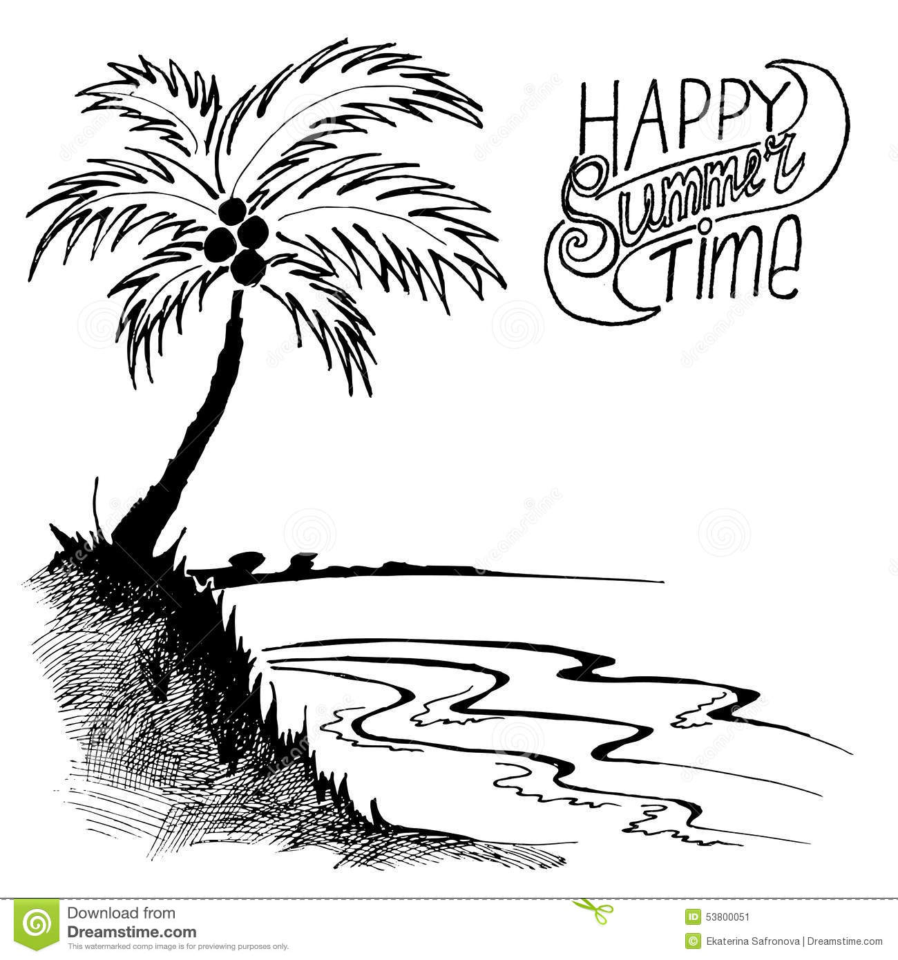 Sketch Of A Beach With Palm Tree Stock Vector