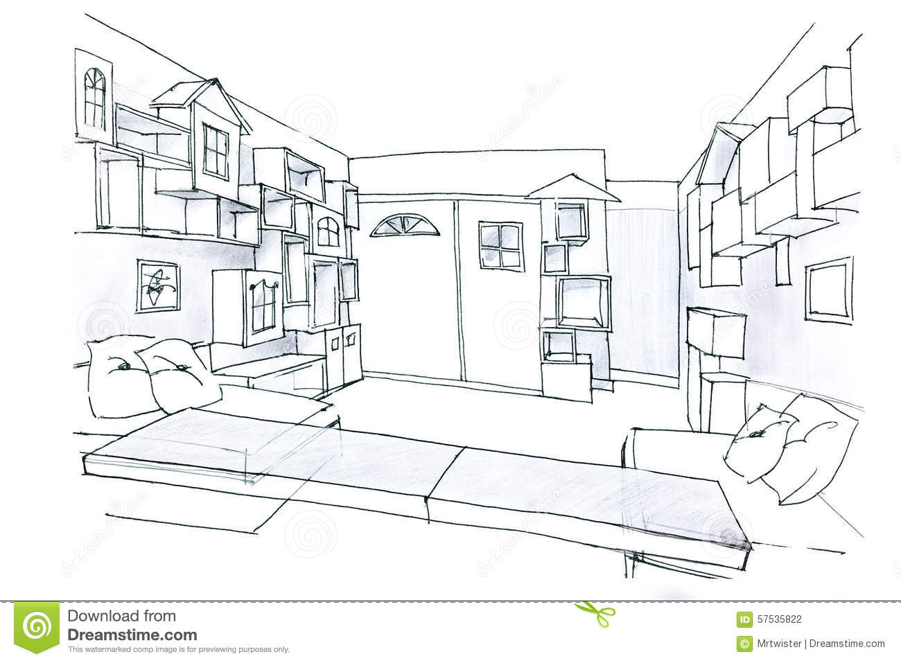 Sketch In Black And White Of A Room For Kids Stock