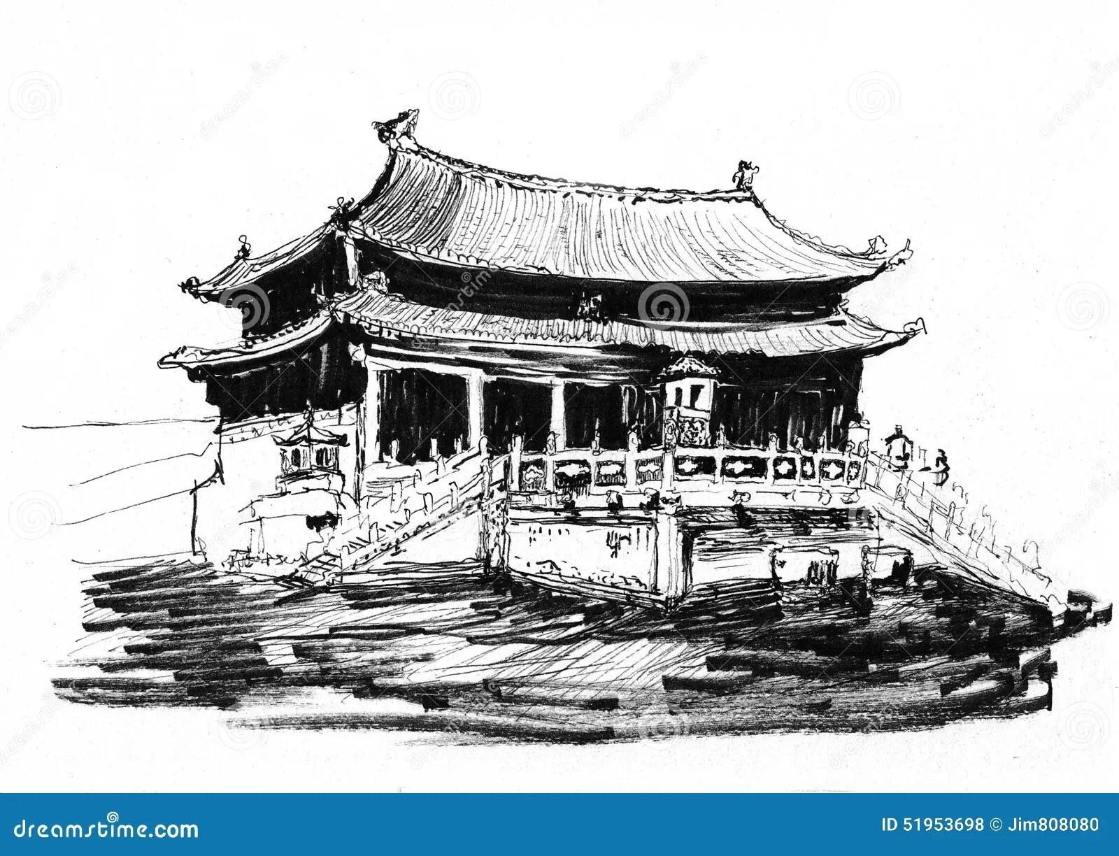 Sketch China Beijing Forbidden City Stock Illustration
